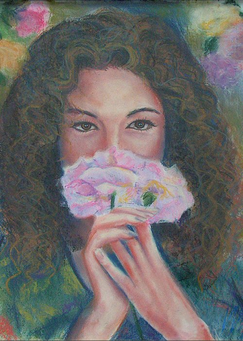Original Painting Greeting Card featuring the painting The Vision Romantic Figurative Floral Pastel Painting by Wendy Middlemass