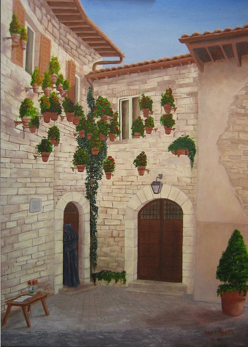 European Experience.assisi Greeting Card featuring the painting The Visitor In Assisi by Brett McGrath