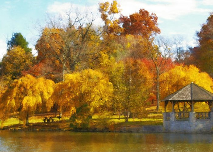 Virginia Tech Greeting Card featuring the photograph The Vt Duck Pond by Kathy Jennings