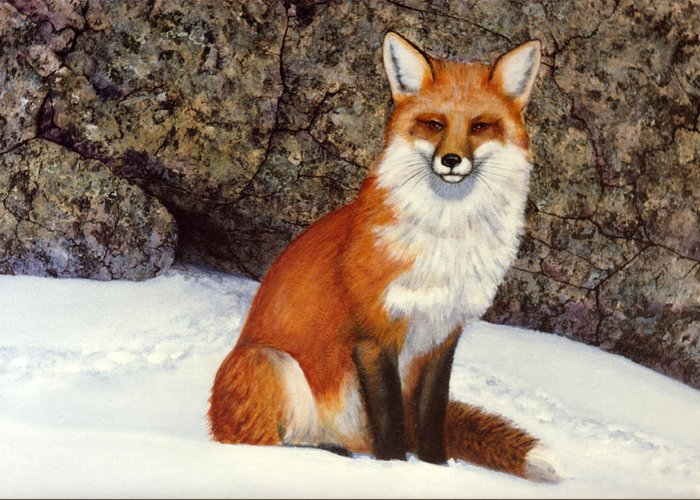 Wildlife Greeting Card featuring the painting The Wait Red Fox by Frank Wilson