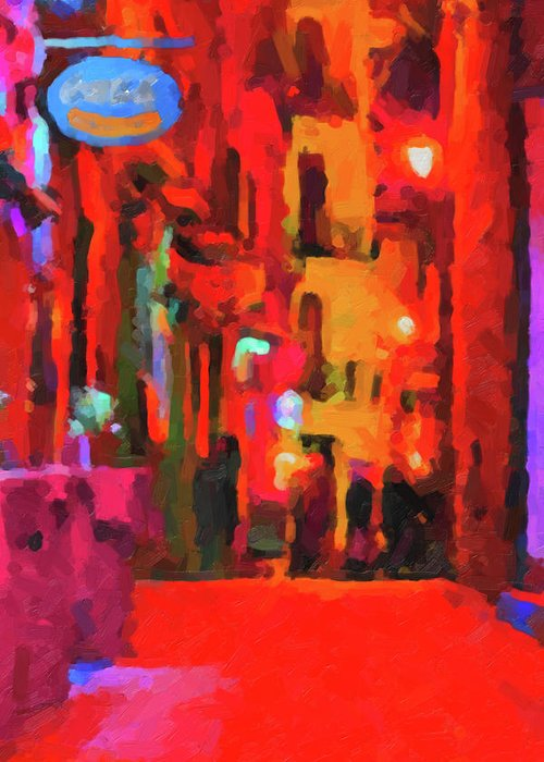 'the Walkabouts' By Serge Averbukh Greeting Card featuring the digital art The Walkabouts - Spanish Red Moon Stroll by Serge Averbukh