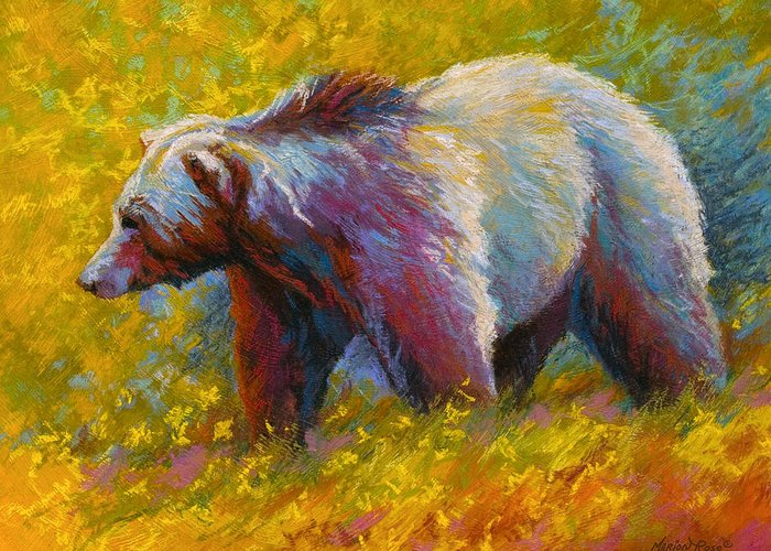 Western Greeting Card featuring the painting The Wandering One - Grizzly Bear by Marion Rose