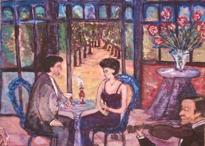 Dining Greeting Card featuring the painting The Wandering Violinist by Helena Bebirian