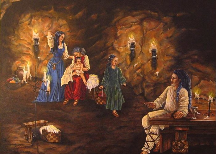 Mythology Greeting Card featuring the painting The Warmth Of The Rock by Maren Jeskanen