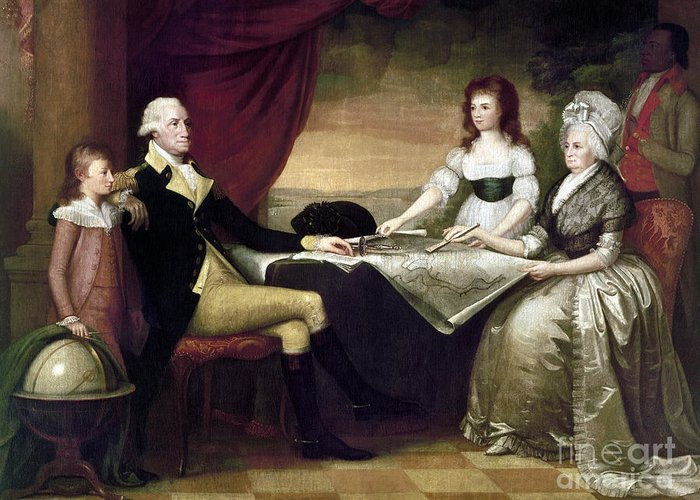 1796 Greeting Card featuring the photograph The Washington Family by Granger