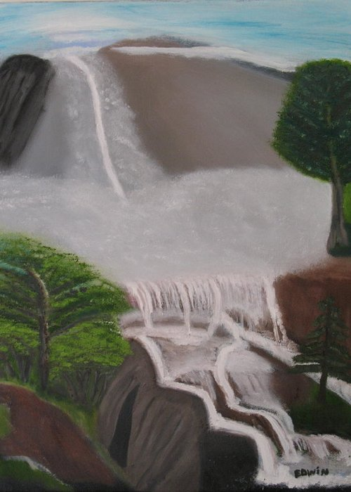 Water Greeting Card featuring the painting The Waterfall by Edwin Long