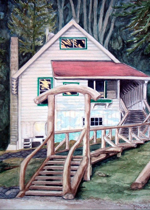 Old House Greeting Card featuring the painting The Waterfront by Tahirih Goffic