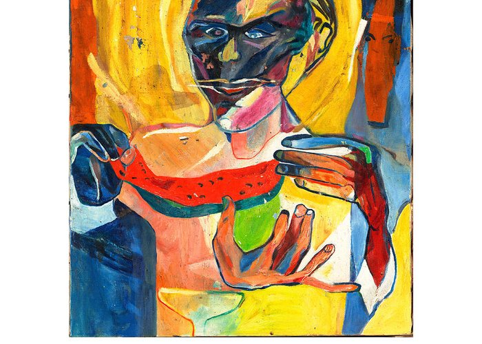 Eating Greeting Card featuring the painting The Watermelon Eaters by Red Jordan Arobateau