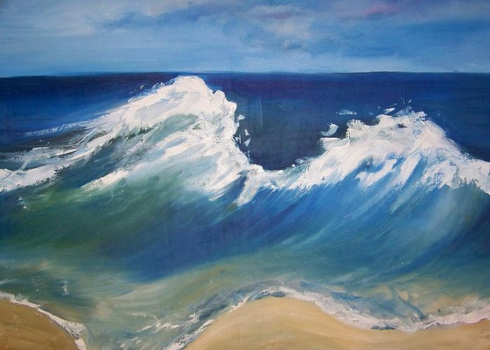 Seascape Greeting Card featuring the painting The Wave by Georgeanne Wayman