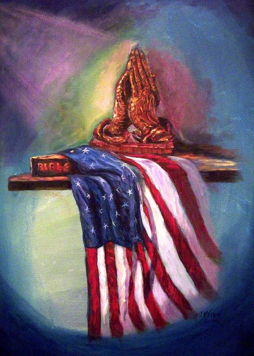 American Flag Greeting Card featuring the painting The Way It Was by Tommy Winn