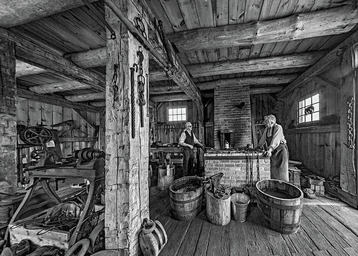 Blacksmith Greeting Card featuring the photograph The Way We Were - The Blacksmith 2 Bw by Steve Harrington