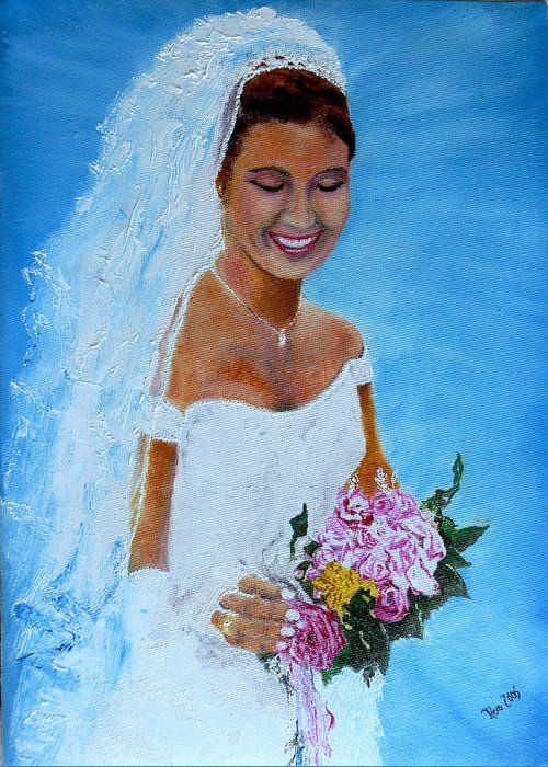 Wedding Greeting Card featuring the painting the wedding day of my daughter Daniela by Helmut Rottler