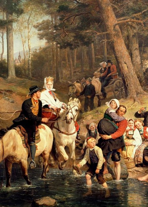 The Wedding Trek Greeting Card featuring the painting The Wedding Trek by Adolphe Tidemand
