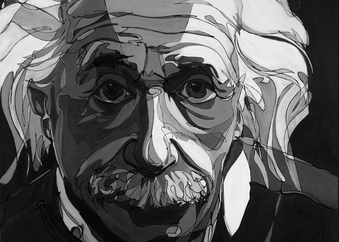 Albert Einstein Greeting Card featuring the painting The Weight Of Genius by John Gibbs