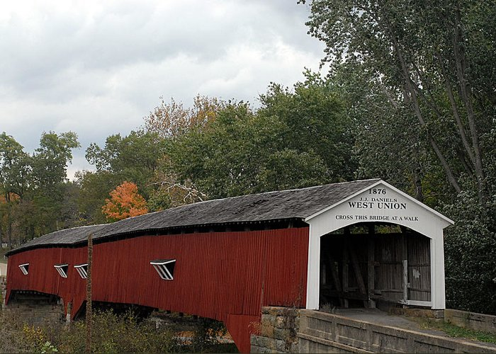 Landscape Greeting Card featuring the photograph The West Union Covered Bridge by John McAllister