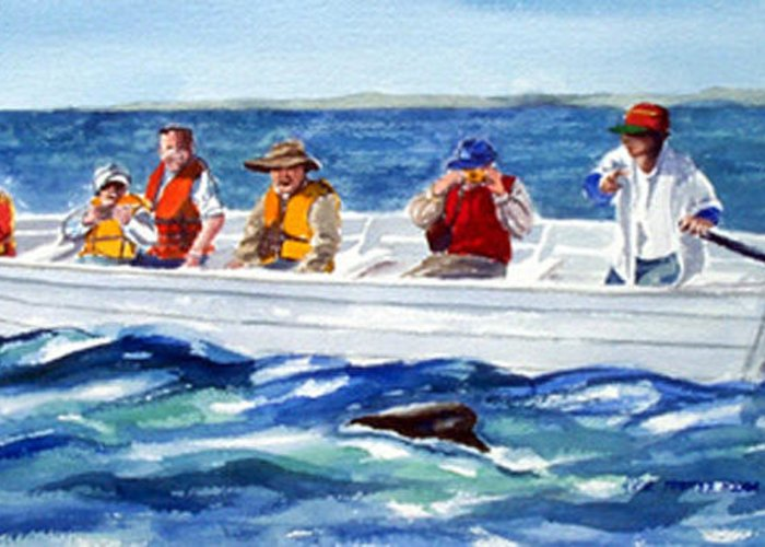 People Greeting Card featuring the painting The Whale Watchers by Anne Trotter Hodge