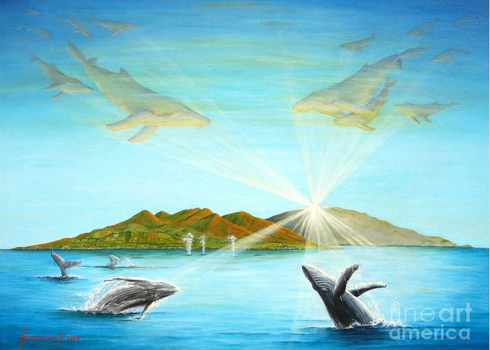 Whales Greeting Card featuring the painting The Whales Of Maui by Jerome Stumphauzer