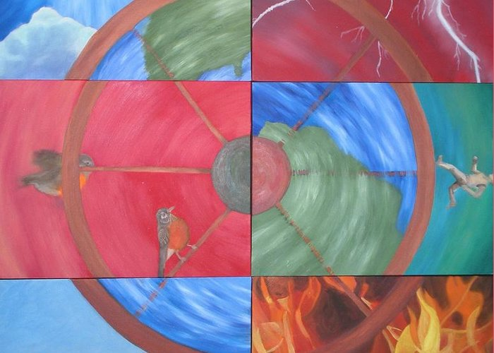 The Wheel Greeting Card featuring the painting The Wheel by Meg Goff