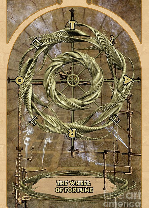 Magic Greeting Card featuring the digital art The Wheel Of Fortune by John Edwards