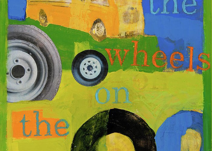 Bus Painting Greeting Card featuring the painting The Wheels On The Bus by Laurie Breen