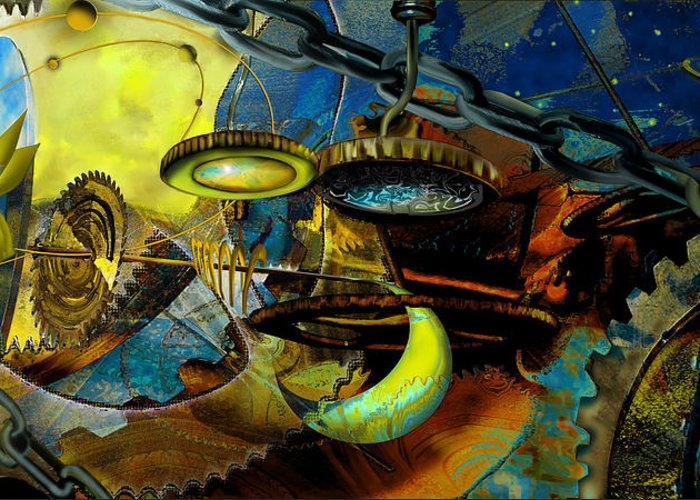 Science Greeting Card featuring the painting The Wheelwork Of Antikythera by Anne Weirich