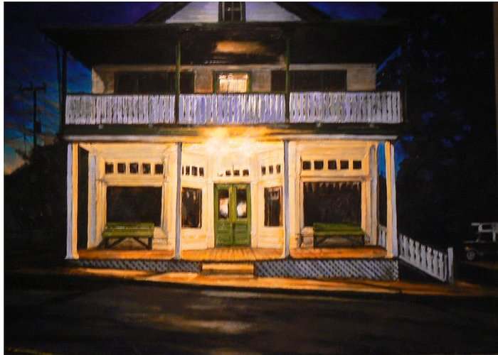 Night Scene Greeting Card featuring the painting The Whippoorwill's Shift by Thomas Akers
