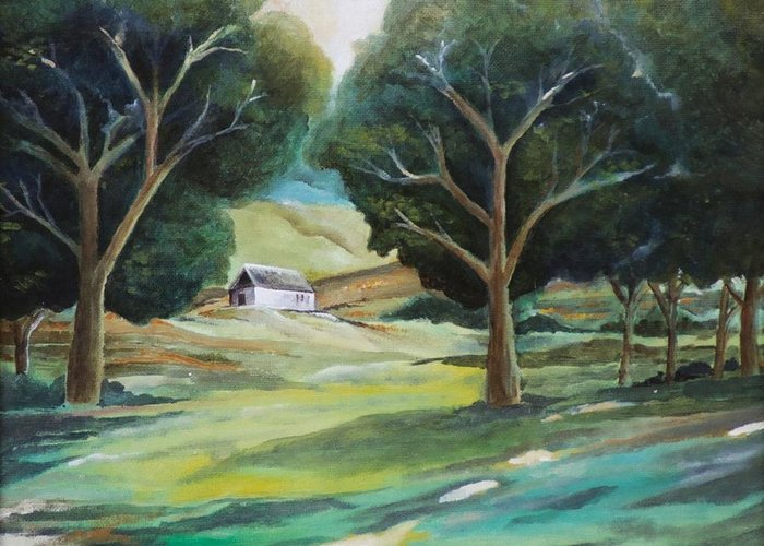 Farm Greeting Card featuring the painting The White Barn by Jun Jamosmos