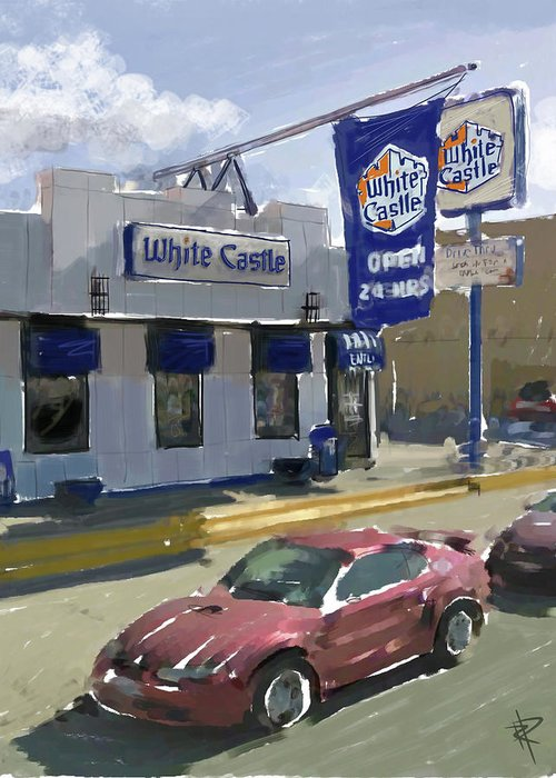 White Castle Greeting Card featuring the mixed media The White Castle by Russell Pierce