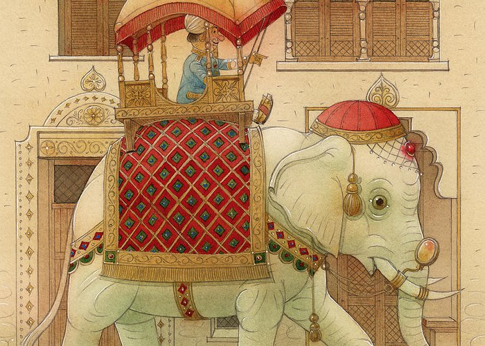 Elephant White Good Luck India King Succes Greeting Card featuring the painting The White Elephant 01 by Kestutis Kasparavicius