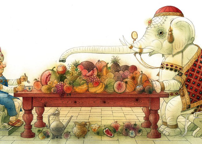 White Elephant King Good Luck Palace Court Breakfast Food Fruit India Happiness Fortune Greeting Card featuring the painting The White Elephant 03 by Kestutis Kasparavicius