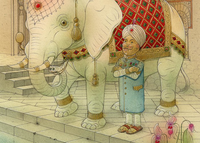 White Elephant Animals King India Water Good Luck Succes Lotus Fortune Happiness Greeting Card featuring the painting The White Elephant 05 by Kestutis Kasparavicius