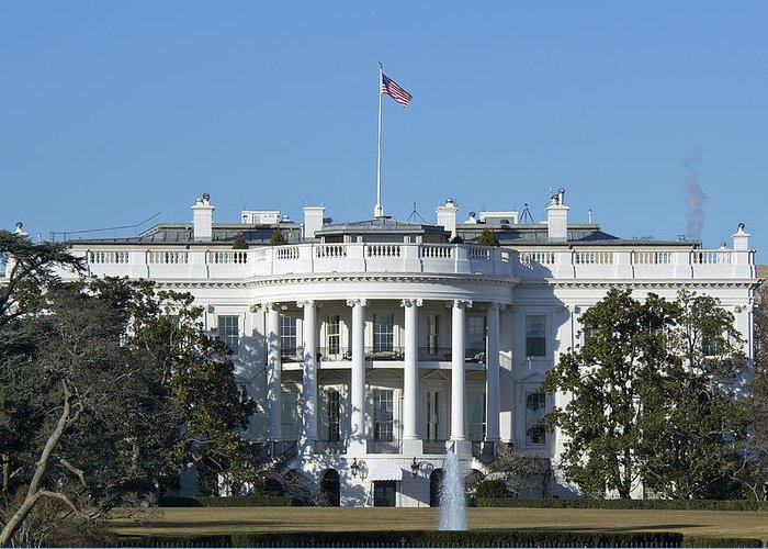 White Greeting Card featuring the photograph The White House - 1600 Pennsylvania Avenue Washington Dc by Brendan Reals