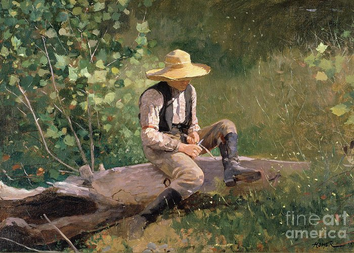 The Whittling Boy Greeting Card featuring the painting The Whittling Boy by Winslow Homer