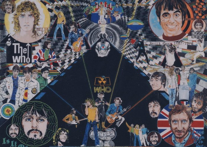 Pete Townshend;roger Daltrey;john Entwistle;keith Moon;quadrophenia;opera;story;four;music;guitars;lasers;mods;rockers;london;brighton;1964 Greeting Card featuring the drawing The Who - Quadrophenia by Sean Connolly