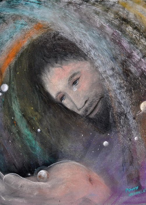 Christ Greeting Card featuring the painting The Whole World by Penny Neimiller