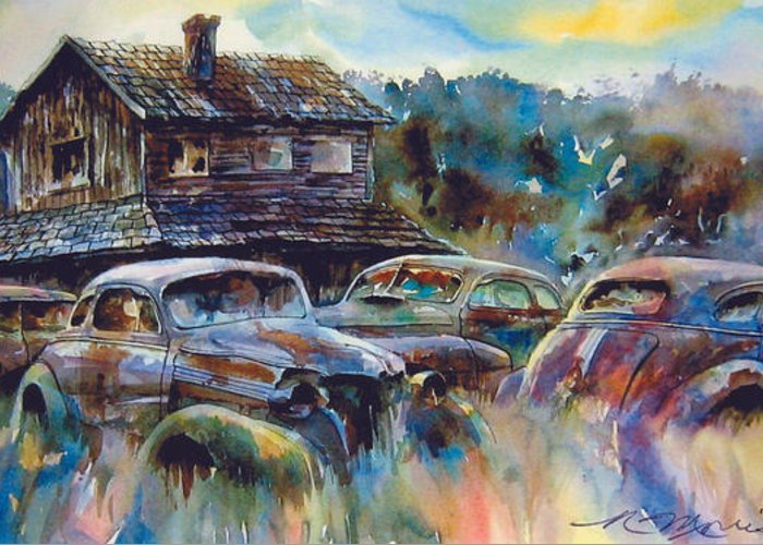 Old Rusty Dilapidated Cars House Greeting Card featuring the painting The Wide Spread by Ron Morrison