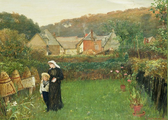 Female; Mother; Child; Mourning; Sailor Suit; Beehive; Garden; Walking Greeting Card featuring the painting The Widow by Charles Napier Hemy