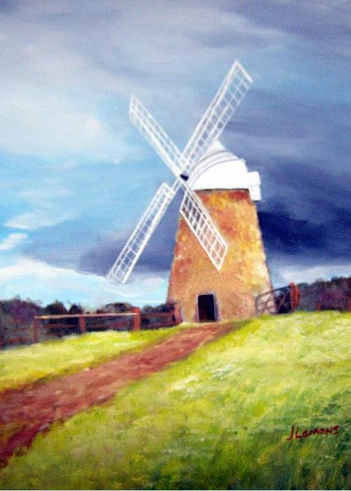 Painting Greeting Card featuring the painting The Windmill by Julie Lamons