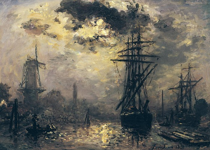 View Of The Port Greeting Card featuring the painting The Windmills In Rotterdam by Johan Barthold Jongkind
