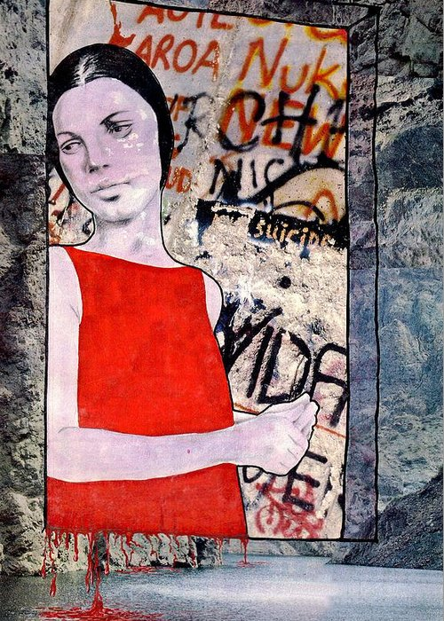 Woman Window Wall Water Blood Life Greeting Card featuring the mixed media The Window by Veronica Jackson