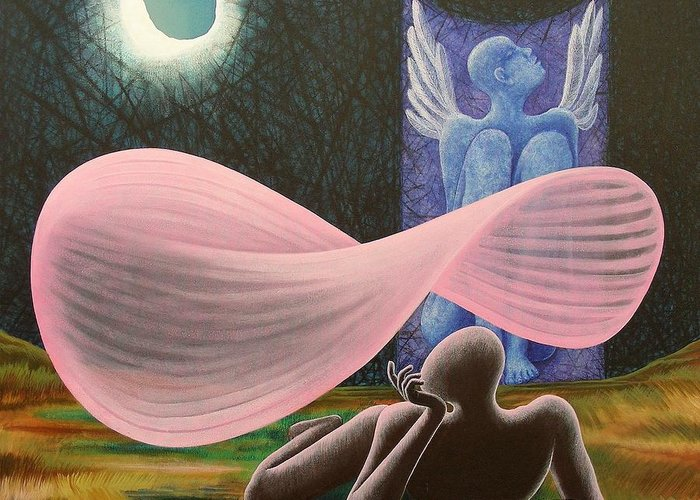 Romantic Greeting Card featuring the painting The Wings by Raju Bose