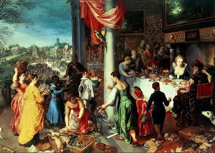 The Greeting Card featuring the painting The Winter Feast by Hendrik van the Elder Balen