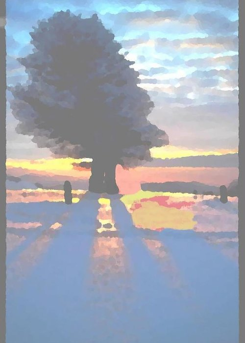 Sky.clouds.winter.sunset.snow.shadow.sunrays.evening Light.tree.far Forest. Greeting Card featuring the digital art The Winter Lonely Tree by Dr Loifer Vladimir