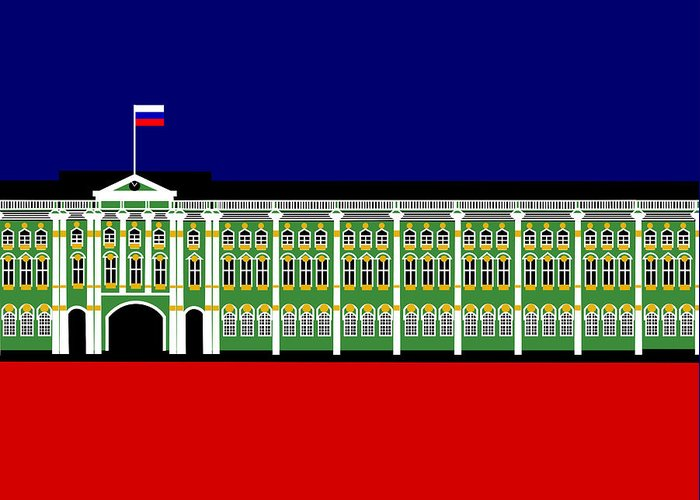Winter Palace Greeting Card featuring the digital art The Winter Palace Inspiration St Petersburg Russia by Asbjorn Lonvig