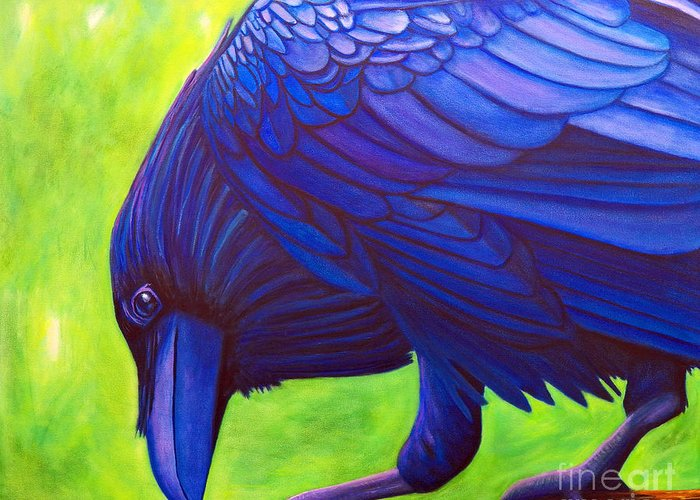 Raven Greeting Card featuring the painting The Witness by Brian Commerford