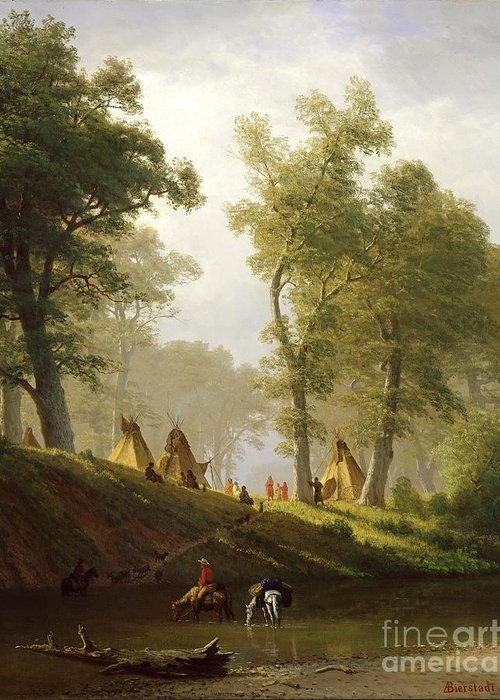 The Greeting Card featuring the painting The Wolf River - Kansas by Albert Bierstadt