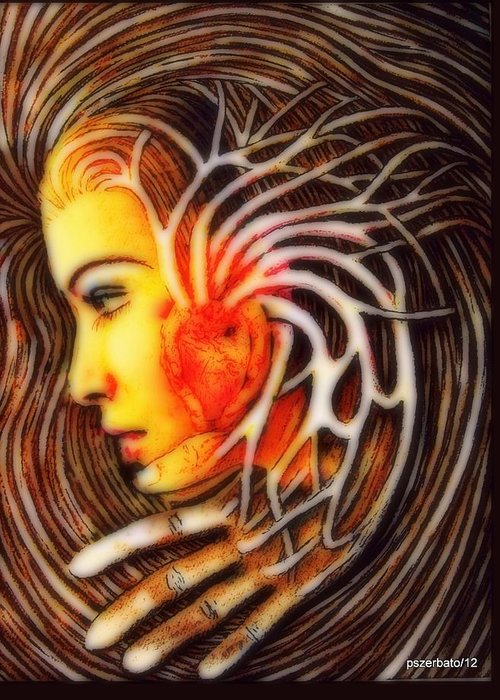 Symbol Of Venus Greeting Card featuring the digital art The Woman Thinks With The Heart by Paulo Zerbato