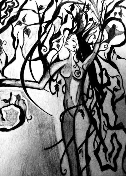 Tree Greeting Card featuring the drawing The Woman Who Became A Tree by Cat Jackson