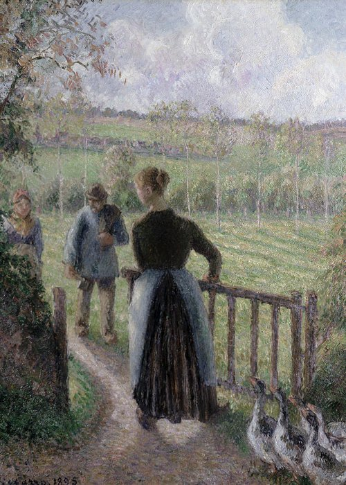 Camille Pissarro Greeting Card featuring the painting The Woman With The Geese by Camille Pissarro