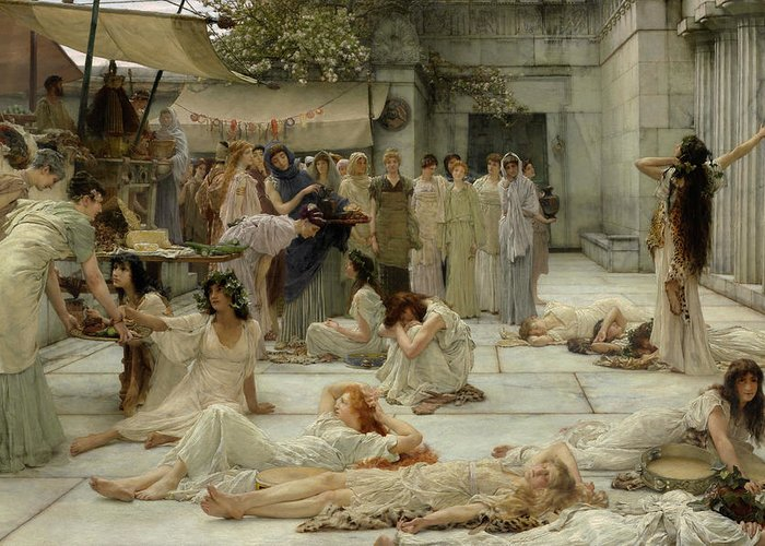 God Of Wine Greeting Card featuring the painting The Women Of Amphissa 4 by Sir Lawrence Alma-Tadema